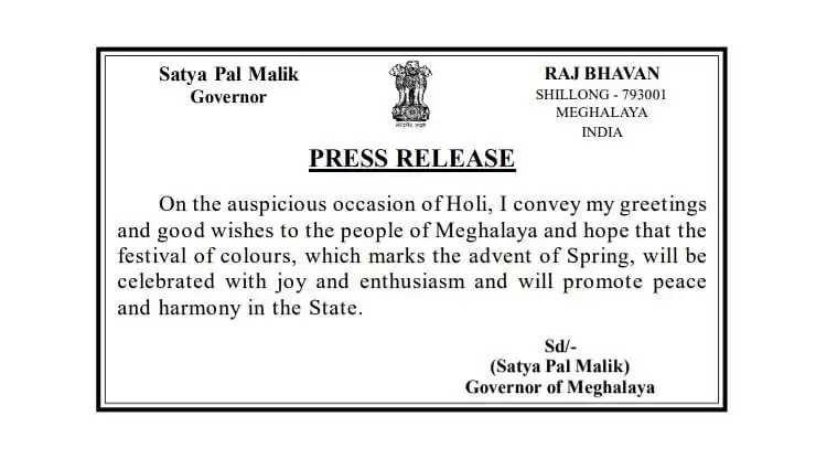 Meghalaya Governor's message on occasion of Holi